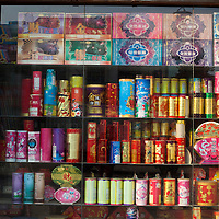 """Hunan, Liuyang, Dec. 19..2013 :  firecrackers for the Chinese market are displayed in a store in the""""Liuyang  interational firecrackers exhibition and trade city """" ."""