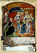 William Caxton (c1422-91) English printer, presenting to Edward IV what is considered first book printed in England 'Dictes or Sayeings of the Philosophres' 1477, translated by 2nd Earl Rivers.