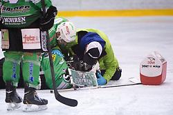 Pierre Svensson of EHC Bregenzerwald hurt during 5th game of final INL league ice hockey match between HK Playboy Slavija and EHC Bregenwald at Dvorana Zalog, on April 3, 2013, in Ljubljana, Slovenia. (Photo by Matic Klansek Velej / Sportida)