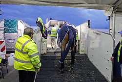 Watermill Scandic HBC of Patrick Kittel<br /> Departure of the horses from Liege Airport to Lexington<br /> Alltech FEI World Equestrian Games - Kentucky 2010<br /> © Dirk Caremans