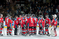 KELOWNA, CANADA - MARCH 15: The Kelowna Rockets celebrate the win against the Vancouver Giants as well as the WHL regular season championship on March 15, 2014 at Prospera Place in Kelowna, British Columbia, Canada.   (Photo by Marissa Baecker/Getty Images)  *** Local Caption ***