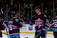 KELOWNA, CANADA - NOVEMBER 3:  Braydyn Chizen #22 of the Kelowna Rockets congratulates teammates on the win against the Brandon Wheat Kings on November 3, 2018 at Prospera Place in Kelowna, British Columbia, Canada.  (Photo by Marissa Baecker/Shoot the Breeze)