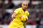MK Dons midfielder Samir Carruthers keeps his eyes on the ball during the Sky Bet Championship match between Nottingham Forest and Milton Keynes Dons at the City Ground, Nottingham, England on 19 December 2015. Photo by Aaron Lupton.