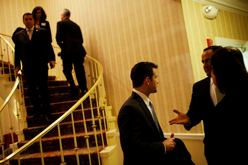 Freshman Congressman Adam Kinzinger, 32, (Republican, Illinois) interacts with a supporter at The Capital Hill Club after being sworn in to office at the United States Capital in Washington, DC on Wednesday, January 5, 2011. He will be a member of the 112th Congress, and represents the 11th Congressional District.