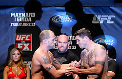 Atlantic City, NJ - June 21, 2012: Nick Catone (left) and Chris Camozzi (right) pose at the weigh-ins for UFC on FX 4 at Ovation Hall at Revel Resort & Casino in Atlantic City, New Jersey.