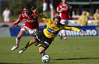 Fotball,<br />1 divisjon adecoligaen<br />Bryne Stadion 16.07.06<br />Bryne - Moss<br /><br />Foto: Sigbjørn Andreas Hofsmo, Digitalsport<br /><br />- Steffen Nystrøm (8) felles av Anders Særvold
