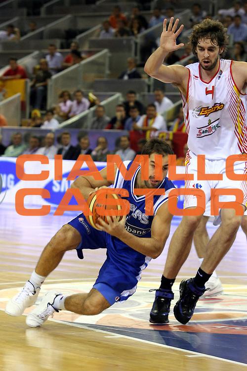 DESCRIZIONE : Madrid Spagna Spain Eurobasket Men 2007 Spagna Grecia Spain Greece<br />GIOCATORE : Vasileios Spanoulis<br />SQUADRA : Grecia Greece<br />EVENTO : Eurobasket Men 2007 Campionati Europei Uomini 2007 <br />GARA : Spagna Grecia Spain Greece<br />DATA : 07/09/2007 <br />CATEGORIA : Palleggio<br />SPORT : Pallacanestro <br />AUTORE : Ciamillo&amp;Castoria/G.Ciamillo <br />Galleria : Eurobasket Men 2007 <br />Fotonotizia : Madrid Spagna Spain Eurobasket Men 2007 Spagna Grecia Spain Greece<br />Predefinita :