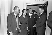 08/04/1963<br /> 04/08/1963<br /> 08 April 1963<br /> W.D. & H.O. Wills Reception for Mr John Ware at the Shelbourne Hotel, Dublin. Reception held on the departure of Mr. Ware and for his successor Mr. Mott. Picture shows (l-r): Mr and Mrs Baggallay, Secretary, Turf Club and Colonel John Byers, Steward, Turf Club and Mr. Ware. Mr Ware was about to go to Bristol to take up the job of Assistant to W.S.J. Carter who was succeeding to the post of Managing Director of the Firm.