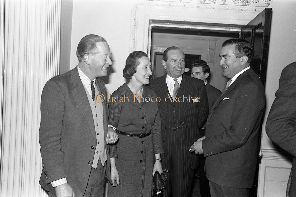 08/04/1963<br /> 04/08/1963<br /> 08 April 1963<br /> W.D. &amp; H.O. Wills Reception for Mr John Ware at the Shelbourne Hotel, Dublin. Reception held on the departure of Mr. Ware and for his successor Mr. Mott. Picture shows (l-r): Mr and Mrs Baggallay, Secretary, Turf Club and Colonel John Byers, Steward, Turf Club and Mr. Ware. Mr Ware was about to go to Bristol to take up the job of Assistant to W.S.J. Carter who was succeeding to the post of Managing Director of the Firm.