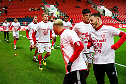 Taylor Moore as Bristol City wear special warm up shirts in tribute to the Afobe family following the passing of Benik Afobe's baby daughter Amora, aged 2 - Rogan/JMP - 10/12/2019 - Ashton Gate Stadium - Bristol, England - Bristol City v Milwall FC - Sky Bet Championship.