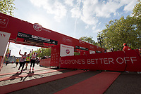 Competitors cross the finish line. The Virgin Money London Marathon, 23rd April 2017.<br /> <br /> Photo: Jed Leicester for Virgin Money London Marathon<br /> <br /> For further information: media@londonmarathonevents.co.uk