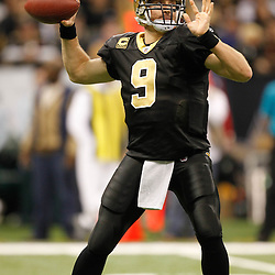 November 28, 2011; New Orleans, LA, USA; New Orleans Saints quarterback Drew Brees (9) throws against the New York Giants during the second quarter of a game at the Mercedes-Benz Superdome. Mandatory Credit: Derick E. Hingle-US PRESSWIRE