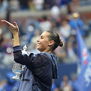 Flavia Pennetta, Italy, blows a kiss to Italian Prime Minister Matteo Renzi after her victory over Roberta Vinci, Italy, in the Women's Singles Final match during the US Open Tennis Tournament, Flushing, New York, USA. 12th September 2015. Photo Tim Clayton