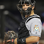 NEW YORK, NEW YORK - APRIL 08: Catcher J.T. Realmuto, Miami Marlins, during the Miami Marlins Vs New York Mets MLB regular season ball game at Citi Field on April 11, 2016 in New York City. (Photo by Tim Clayton/Corbis via Getty Images)