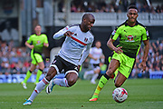 Fulham striker Sone Aluko (24) in action during the EFL Sky Bet Championship play off first leg match between Fulham and Reading at Craven Cottage, London, England on 13 May 2017. Photo by Jon Bromley.