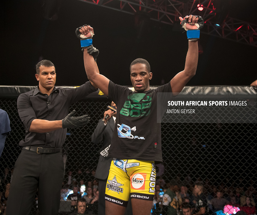 DURBAN, SOUTH AFRICA - JUNE 10: Marino Cutendana from Angola celebrates after defeating Martin de Beer from South Africa during the EFC 60 Fight Night at Sibaya Casino on June 10, 2017 in Durban, South Africa. (Photo by Anton Geyser/EFC Worldwide/Gallo Images)