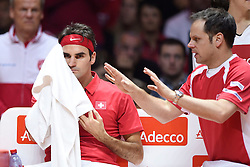 21.11.2014, Stade Pierre Mauroy, Lille, FRA, Davis Cup Finale, Frankreich vs Schweiz, im Bild Roger Federer (SUI) und Captain Severin Luethi (SUI) // during the Davis Cup Final between France and Switzerland at the Stade Pierre Mauroy in Lille, France on 2014/11/21. EXPA Pictures © 2014, PhotoCredit: EXPA/ Freshfocus/ Valeriano Di Domenico<br /> <br /> *****ATTENTION - for AUT, SLO, CRO, SRB, BIH, MAZ only*****