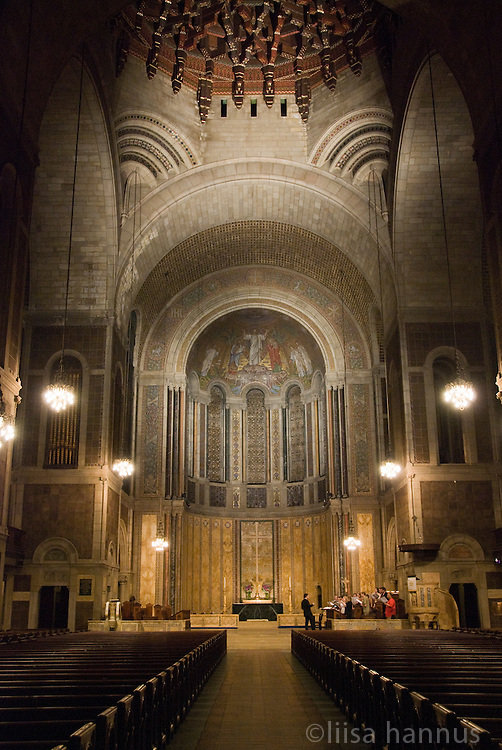 A choir rehearses inside St. Bartholemew's Church, New York City.