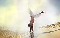 Magic handstand by the beach
