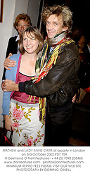 MATHEW and LADY ANNE CARR at a party in London on 3rd October 2002.PDT 159
