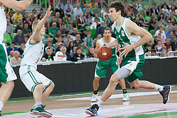 Sasu Salin of Union Olimpija & Uros Lucic of Krka during basketball match between KK Union Olimpija and KK Krka in 4nd Final match of Telemach Slovenian Champion League 2011/12, on May 24, 2012 in Arena Stozice, Ljubljana, Slovenia. Krka defeated Union Olimpija 65-55. (Photo by Grega Valancic / Sportida.com)