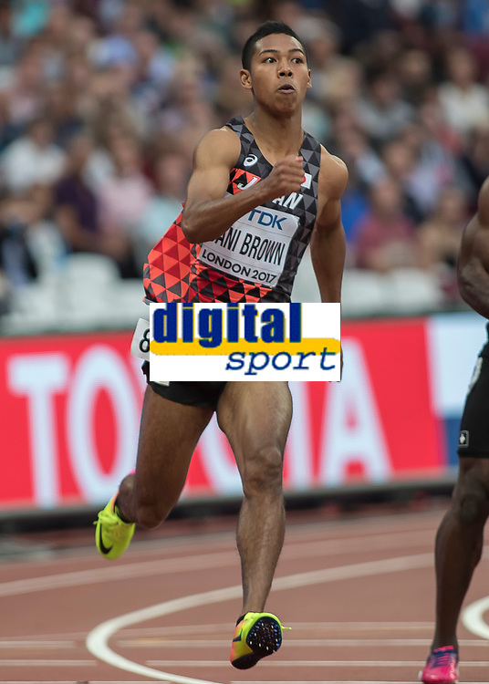 Athletics - 2017 IAAF London World Athletics Championships - Day Four, Evening Session<br /> <br /> 200m Men Round One<br /> <br /> Abdul Hakim Sani Brown (Japan) competes in the heats of round one at the London Stadium<br /> <br /> COLORSPORT/DANIEL BEARHAM