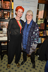 Left to right, SANDY POWELL and her mother at a party to celebrate the publication of How I Met My Son by Ros Powell held at Hatchards, 187 Piccadilly, London on 11th February 2016.