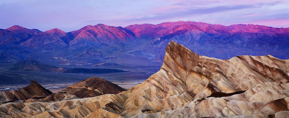 First Light Of Dawn Over Zabriskie Point, Death Valley National Park, California, USA