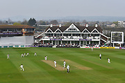 General view of play with Tom Abell of Somerset facing the bowling of Michael Clayton of Kent during the Specsavers County Champ Div 1 match between Somerset County Cricket Club and Kent County Cricket Club at the Cooper Associates County Ground, Taunton, United Kingdom on 7 April 2019.