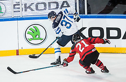 Mika Pyorala of Finland vs Brayden Point of Canada during the 2017 IIHF Men's World Championship group B Ice hockey match between National Teams of Canada and Finland, on May 16, 2017 in AccorHotels Arena in Paris, France. Photo by Vid Ponikvar / Sportida