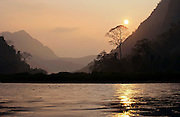 Sunset on the Nam Ou (river)near Nong Kiau, Laos.