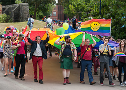 © Licensed to London News Pictures. 11/07/2015. Bristol, UK.  The Bristol Pride march with rainbow flags through the city centre for the climax of Pride Week in Bristol celebrating the LGBT community. Photo credit : Simon Chapman/LNP