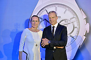 (L) Magdalena Polanska and (R) Matthias Breschan President of Rado brand during press conference at the Uffcio Primo Club in Warsaw on April 30, 2014.<br /> <br /> Poland, Warsaw, April 30, 2014<br /> <br /> Picture also available in RAW (NEF) or TIFF format on special request.<br /> <br /> For editorial use only. Any commercial or promotional use requires permission.<br /> <br /> Mandatory credit:<br /> Photo by © Adam Nurkiewicz / Mediasport