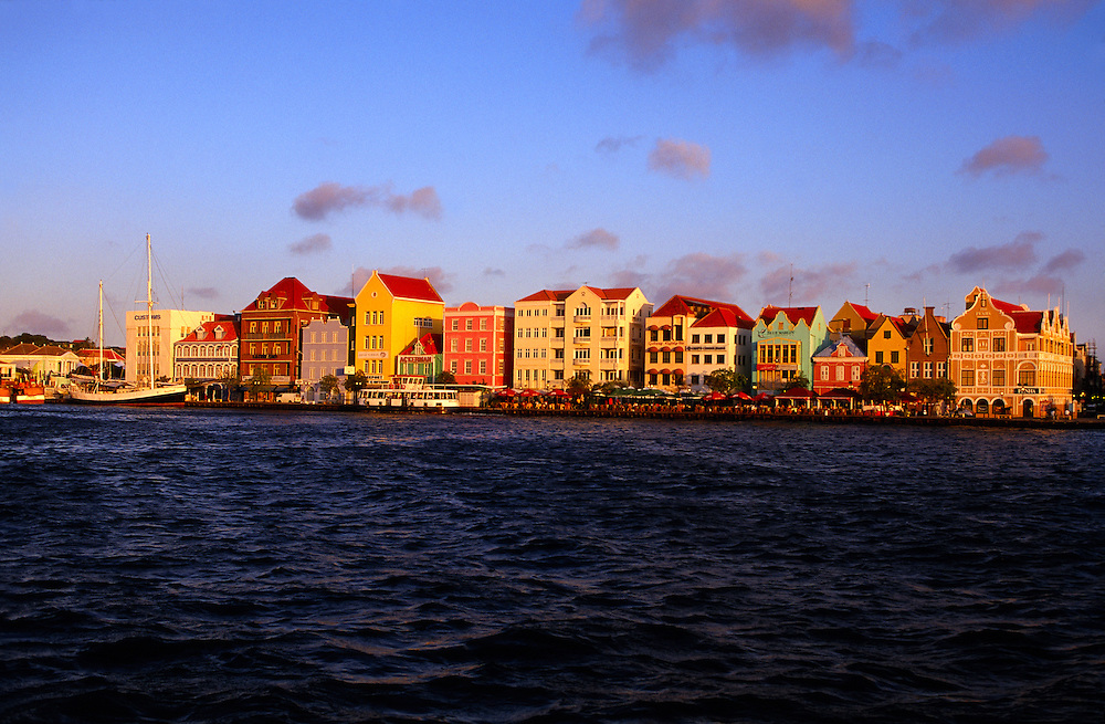 Dutch architecture on Handelskade in the Punda section of Willemstad, Curacao, Netherlands Antilles
