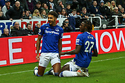 Dominic Calvert-Lewin (#9) of Everton celebrates Everton's first goal (0-1) during the Premier League match between Newcastle United and Everton at St. James's Park, Newcastle, England on 28 December 2019.