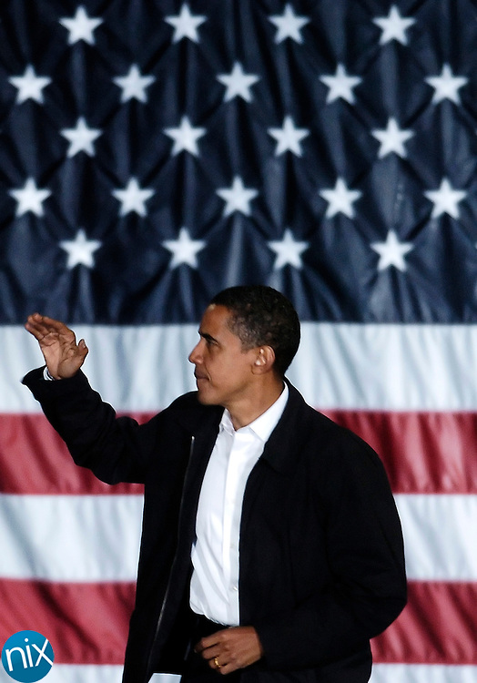 Sen. Barack Obama speaks to a crowd of supporters at UNC-Charlotte Monday.