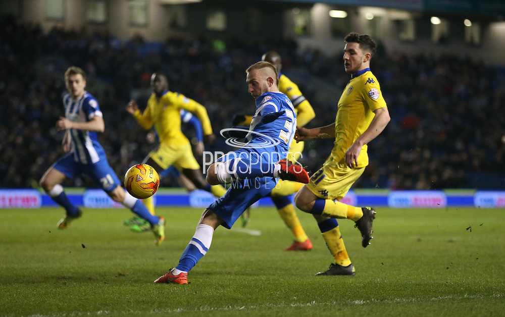 Brighton striker Jiri Skalak (38) shoots during the Sky Bet Championship match between Brighton and Hove Albion and Leeds United at the American Express Community Stadium, Brighton and Hove, England on 29 February 2016.