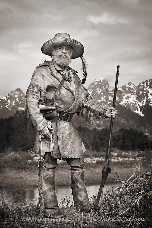 Mountain Man in the Grand Teton valley, setting traps and hunting along the streams and creeks.