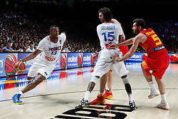 10.09.2014, Palacio de los deportes, Madrid, ESP, FIBA WM, Frankreich vs Spanien, Viertelfinale, im Bild Spain&acute;s Pau Gasol and Rudy Fernandez (R) and France&acute;s Diaw // during FIBA Basketball World Cup Spain 2014 Quarter-Final match between France and Spain at the Palacio de los deportes in Madrid, Spain on 2014/09/10. EXPA Pictures &copy; 2014, PhotoCredit: EXPA/ Alterphotos/ Victor Blanco<br /> <br /> *****ATTENTION - OUT of ESP, SUI*****