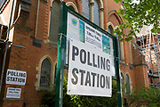 On the morning of the European Elections in the UK, an exterior of the Polling Station at the Baptist Church at the Baptist Church in East Dulwich, on 23rd May 2019, in south London, England UK.
