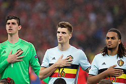 LILLE, FRANCE - Friday, July 1, 2016: Belgium's Thomas Meunier and Jason Denayer ahead of the UEFA Euro 2016 Championship Quarter-Final match against Wales at the Stade Pierre Mauroy. (Pic by Paul Greenwood/Propaganda)