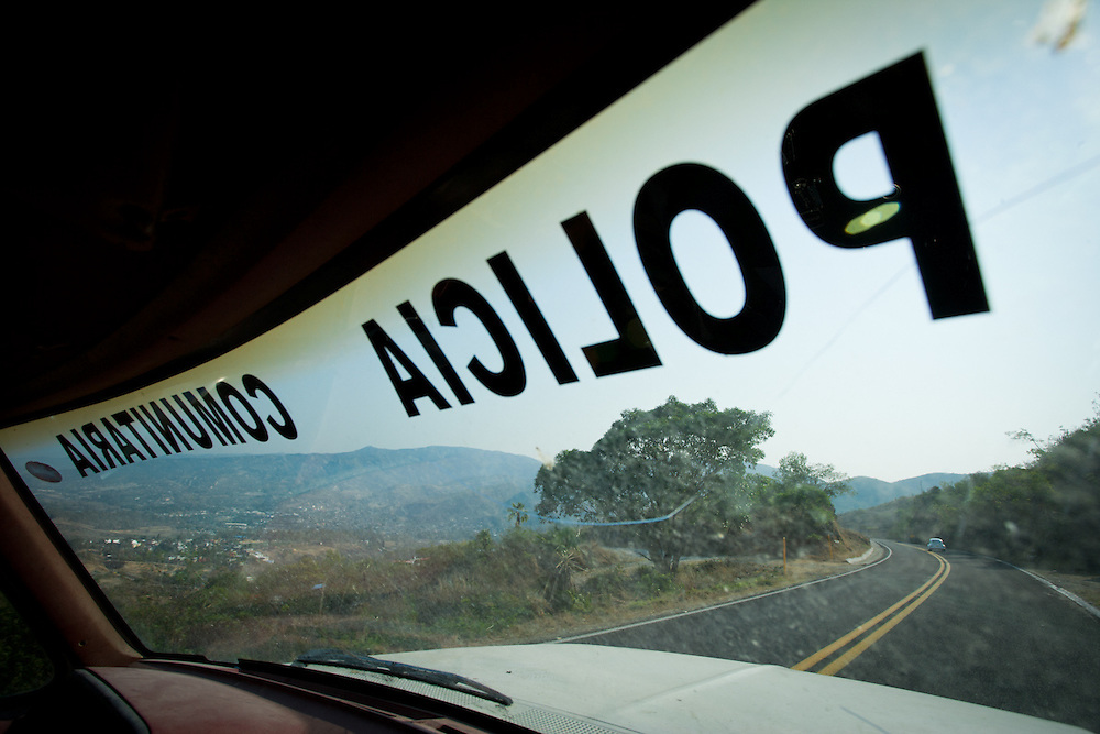 The view over Petaquillas from a community police car.