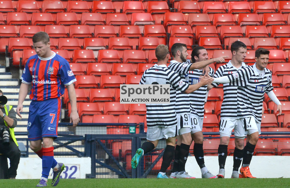 Queens players join Chris Duggan in celebrating the home team's second goal against City as Elgin player Jamie Duff looks to the floor.....(c) BILLY WHITE | SportPix.org.uk