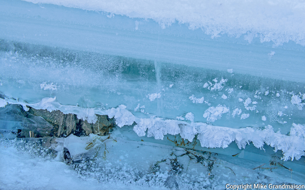 Detail of ice on Lake of teh Woods at Darlington Bay<br />