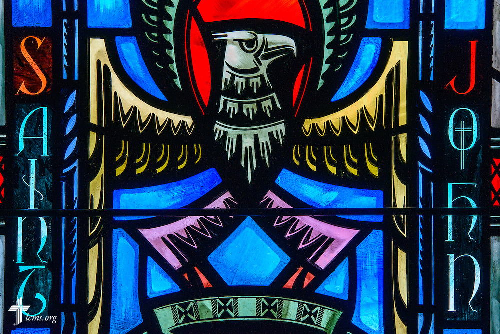 Stained glass at Luther Memorial Chapel depicts St. John as an eagle on Friday, Jan. 29, 2016, in Shorewood, Wis. LCMS Communications/Erik M. Lunsford