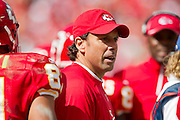 KANSAS CITY, MO - SEPTEMBER 26:   Head Coach Todd Haley of the Kansas City Chiefs during a game against the San Francisco 49ers at Arrowhead Stadium on September 26, 2010 in Kansas City, Missouri.  The Chiefs defeated the 49ers 31-10.  (Photo by Wesley Hitt/Getty Images) *** Local Caption *** Todd Haley