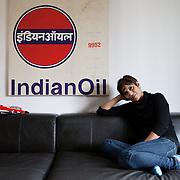Milan, Italy, January 31, 2014. Gabriella Kuruvilla, Italo/Indian writer and painter in her home-studio.