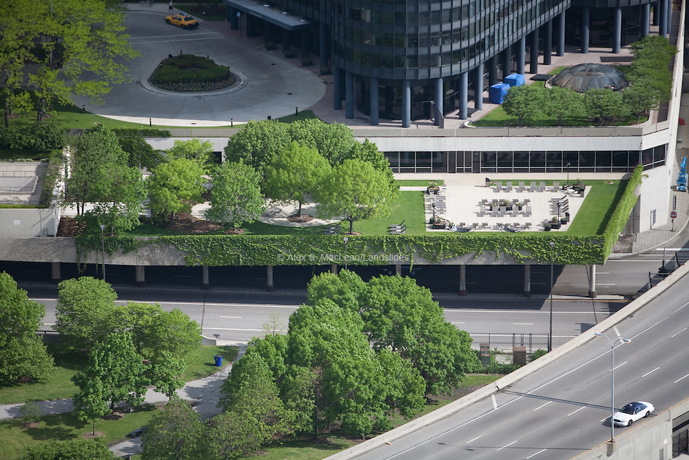 The right to build over a public roadway allows Harbor Point Tower to design outdoor green space for its residents in downtown Chicago.