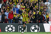 GOAL - Watford forward Andre Gray (18) celebrates 1-2 during the Premier League match between Watford and Manchester United at Vicarage Road, Watford, England on 15 September 2018.