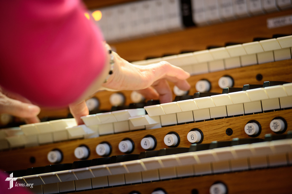 Katherine May, organist and choirs director, performs during worship on Transfiguration Sunday, Feb. 7, 2016, at Peace Lutheran Church in Sussex, Wis., LCMS Communications/Erik M. Lunsford